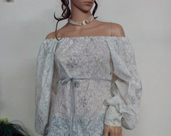 Elegant formal ladies blouse of fine cotton with small delicate flowers in silver