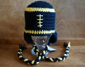 Clearance READY TO SHIP Football hats (infant through toddler sizes) Steelers or University of Iowa