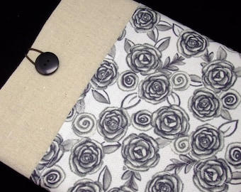 KI iPad Air case 2, iPad cover, iPad sleeve/ Samsung Galaxy Tab 3 10.1with 2 pockets, PADDED - Grey roses