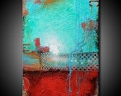 24x36 Textured Abstract Painting Urban Modern ORIGINAL Teal & Red Canvas Fine Art by Maria Farias