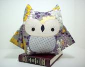 Owl plush stiffed toy pillow in purple and grey floral print , owl plush toy, owl nursery decor, purple and grey girl owl, owl stuffed toy