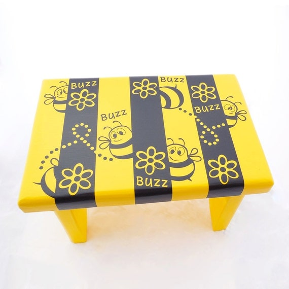 Home decor yellow bumble bee theme footstool garden for Bee decorations for the home