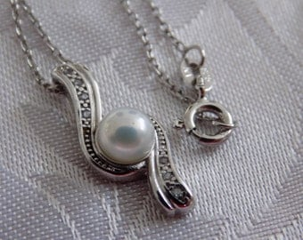 """Vintage pendant, sterling silver, pearl and crystal pendant and chain, marked """"NV"""", vintage pendant necklace"""