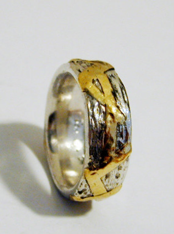 Gold silver ring ,Texture ring ,Classic gold silver rings , 22 kt gold band ,Bridal rings ,Yellow gold ring