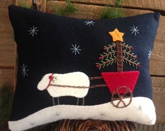 Christmas Sheep with Tree on Cart Wool Applique Pillow  JKB