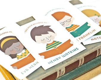 Kid's Custom Portrait Bookplate Labels, Personalized Gift for Your Bookworm // LITTLE READER