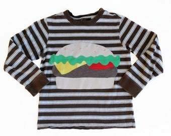 Boys Shirt Size 7 Cheeseburger Stripes Long Sleeve by TrashN2Tees