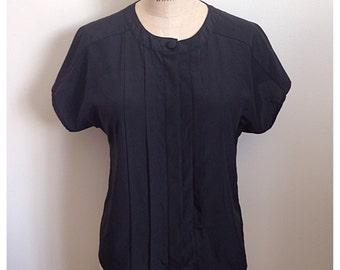 Vintage 1980s PETITE By ELITE black short sleeve blouse
