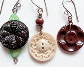 Brown Vintage Button Earrings ON SALE