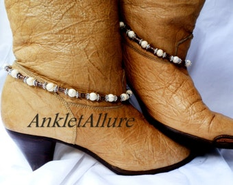 No Bling Southwestern White Turquoise Boot Chains Fusion Copper Silver Boot Jewelry