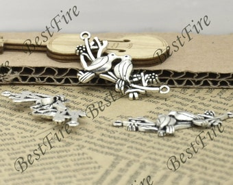 6 PCS Of 18x45 MM Antique silver Couple Birds Charms Pendant,pendant beads,  Double Birds on Branch Connectors  jewelry findings