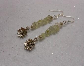 Prehnite Lotus Gemstone Earrings
