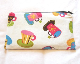 Teacups Fabric Zipper Pouch / Pencil Case / Make Up Bag / Gadget Sack