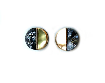 APSE Stud Earrings in Galaxy Marble - Marble Earrings, Crescent Earrings, Gold Earrings, Half Moon Earrings, Modern Earrings, Post Earrings