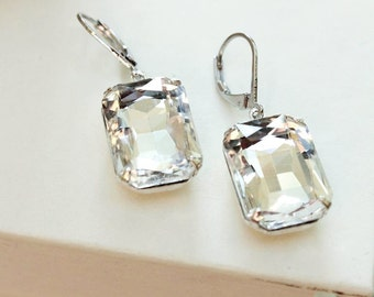 Crystal Rhinestone Earrings Big Glass Drop Earrings Vintage Style Bridal Jewelry Silver Nickel Free Leverback Gift for Women Clear Glass