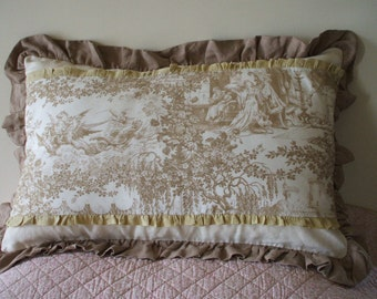 ANTIQUE FRENCH PILLOW   antique french toile de jouy pillow French linen