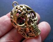 Lacy Brass Skull Pendant 3D 30mm