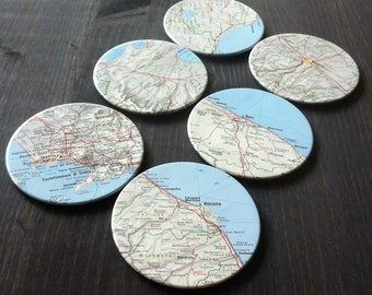 Italy Vintage Map Coasters (Set of 6)