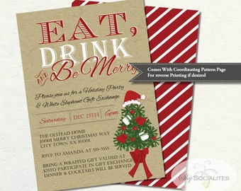 Kraft Christmas Tree Invitation   Eat Drink and Be Merry, Holiday Party, Gift Exchange, Tan, Red, White, Santa Hat   Instant Download