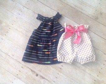 Girl's Swing Top and High Waisted Bubble Shorts Set - Tunic and Shorts - Baby Top - Children's Clothing - Spring Clothing - Kid's Clothing