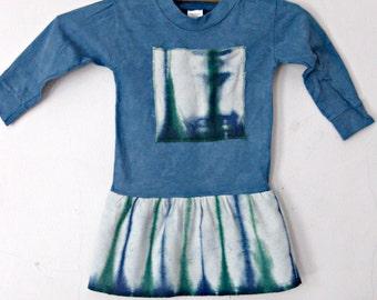 Toddler Blue Dress, Cotton Tie Dyed, 18 Month T-Shirt Dress