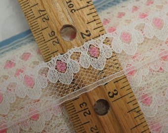Pink and White Flat lace over 26 Yards