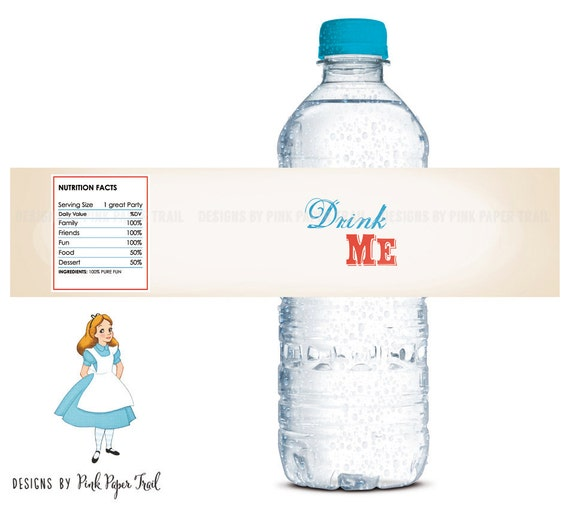 Alice In Wonderland Water: Alice In Wonderland Printable Water Bottle Label Drink Me