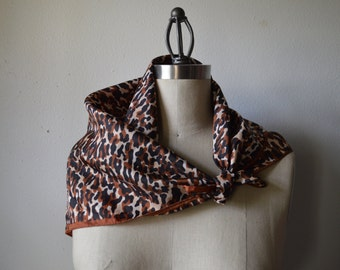 Vintage Head Scarf Animal Print Scarf White Black and Rust Leopard Print Acetate Head Scarf 26 inch Square Scarf