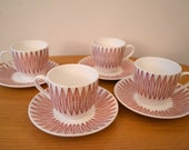 RESERVED FOR EY  Stig Lindberg / Bibi Breger Red Salix Cups and Saucers for Gustavsberg