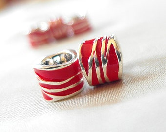 Bright Red Enamel with Silver metal asymmetrical striped large hole beads, 11mm x 9mm, hole diameter 5mm, package of 10