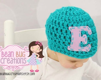 Initial hat  chunky hat / baby hat / girl hat / boy hat / chunky hat / initial hat / choose your color personalized hat
