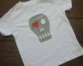 Boy Girl Valentines Shirt Skull Heart Eye Patch Boy Red Hearts Vday Shirt -- TODDLER sizes