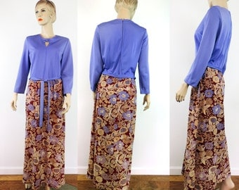 FREE SHIPPING Eve Carver Original Vintage Maxi Dress 1970's Purple Rayon and Soft Knit Long Length Lounge Causual Wear
