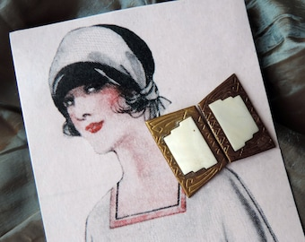 Belt Buckle Art Deco Gold and White Accessory Sewing Notion Free Shipping 1930's