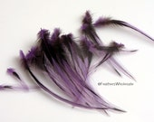 Small Purple Feather for Crafts Purple Laced Hen Cape Feathers Light Purple Stiff Good for Accenting Masks Dream Catcher Supply, 15 PCS