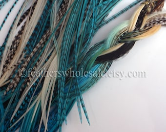 Ocean Blue Feather Hair Accessories Long Feather Extensions White Ombre Blue Oceanic Colors Real Hair Feathers White Grizzly Blue Pack of 8