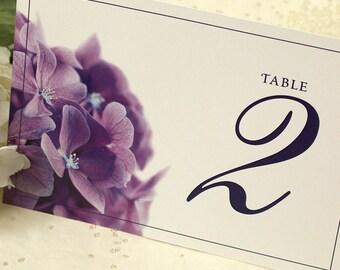 Purple Hydrangea Table Number, DEPOSIT