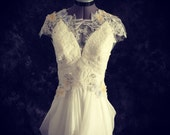 Claire-Vintage Fairy Wedding Dress-Made to order in light ivory