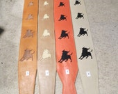 Leather guitar strap, raging bull embroidery collection