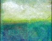 "Abstract Art Print: Cloud Print, Cloud Art, Contemporary Mixed Media, 5x5 (127mm), 8x8 (203mm) or 12x12 (305mm), ""Abstract Cloud 105"" blue"