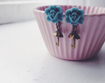 call me maybe -earrings (bronze telephone charm and blue rose cabochon)