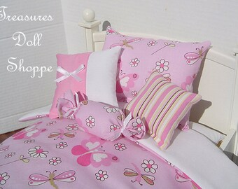 Doll Bedding 5 Pc Set for 18 Inch Dolls - Pink Butterflies
