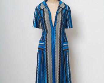 Vintage 60s Dress  /  MOD DRESS  / 1960s Day dress / Blue & Black Dress / !960s Dress