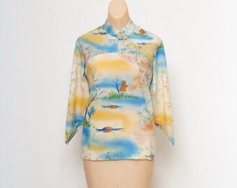 Vintage 60s / Vintage tiki shirt / Vintage blouse / Size M / Hawaii Top / Vintage Shirt / 1960s