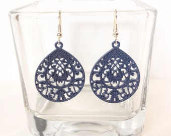 Gorgeous Hand Painted Navy Blue Filigree Earrings