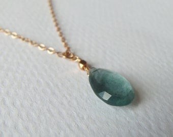 Steely Blue Aquamarine Gemstone Wire Wrapped with 14kt Gold Fill Chain Pendant/Solitaire/Necklace
