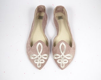 Pointy Old Pink Handmade Leather Loafers Slip on Shoes with Deco Silver Lurex Detail