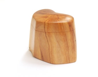 Engagement Ring Box Handcarved Olive Wood, The Dancing Heart,  Romantic Heirloom Elegant Ecofriendly Keepsake