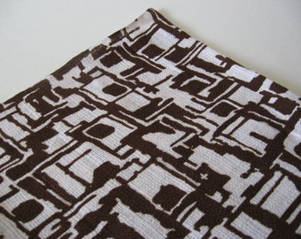Mid century mod vintage coarse cotton woven knit brutalist abstract fabric 2 yards available brown on bright white