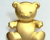 JJ Jonette Teddy Bear Brooch Gold Tone
